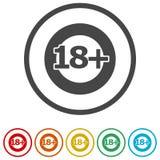 le signe de restriction de l'âge 18+, dirigent dix-huit icônes, 6 couleurs incluses Illustration de Vecteur