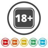 le signe de restriction de l'âge 18+, dirigent dix-huit icônes, 6 couleurs incluses Illustration Libre de Droits