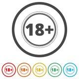 le signe de restriction de l'âge 18+, dirigent dix-huit icônes, 6 couleurs incluses Illustration Stock