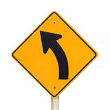Le signe de route a laissé la courbe d'isolement sur le blanc Photo libre de droits