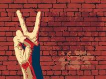 Le signe de victoire avec le fond rouge de mur de briques. illustration de vecteur