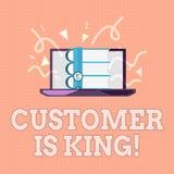 Le signe des textes montrant le client est roi Le service conceptuel de photo attentivement et fournissent correctement les besoi illustration stock