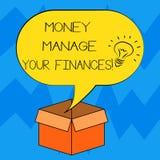 Le signe des textes montrant l'argent contrôlent vos finances La photo conceptuelle font le bon usage de vos revenus investissant illustration libre de droits