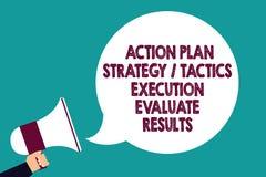 Le signe des textes montrant l'exécution de la tactique de stratégie de plan d'action évaluent des résultats Homme conceptuel de  illustration stock