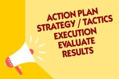 Le signe des textes montrant l'exécution de la tactique de stratégie de plan d'action évaluent des résultats Loudspea conceptuel  illustration stock