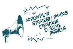 Le signe des textes montrant l'exécution de la tactique de stratégie de plan d'action évaluent des résultats Mégaphone gris lou d illustration de vecteur