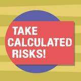 Le signe des textes montrant la prise a calculé des risques Risques conceptuels de photo pris après l'évaluation soigneuse du bla illustration de vecteur