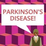 Le signe des textes montrant Parkinson s est la maladie Désordre conceptuel de système nerveux de photo qui affecte l'homme d'aff illustration stock