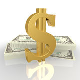 Le signe du dollar, et liasses d'argent Image libre de droits