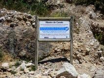 Le signe du Praia DA Ribeira font Cavalo, plage au Portugal Photo stock