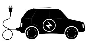 Le signe du véhicule électrique de SUV Découpes noires Transport écologique moderne Photo libre de droits