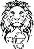 Le signe Ek Onkar est le symbole le plus significatif de Sikhisme, d?cor? d'un lion image stock