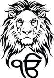 Le signe Ek Onkar est le symbole le plus significatif de Sikhisme, d?cor? d'un lion photo libre de droits