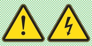 Le signe et le danger à haute tension signent, symbole de triangle de danger, panneau d'avertissement illustration libre de droits