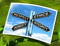 Le signe honnête d'intégrité d'éthique de respect signifie de bonnes qualités Photos stock