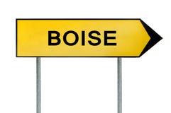 Le signe jaune Boise de concept de rue solated sur le blanc Photographie stock libre de droits