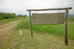 Le signe lit l'accueil au parc de Hluhluwe Umfolozi, Afrique du Sud images libres de droits