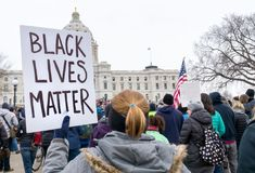 Le signe noir de matière des vies chez mars pendant nos vies se rassemblent Photos stock