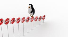 le signe s'élevant d'arrêt du pingouin 3d embarque le concept Images stock