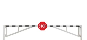 Le signe superficiel par les agents d'arrêt de porte de barrière de route a isolé Photos stock