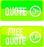Le signe vert de Web libèrent des guillemet Image stock