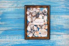Le signe vous remercient avec les coquilles et le cadre de photo Fond de vocation images stock
