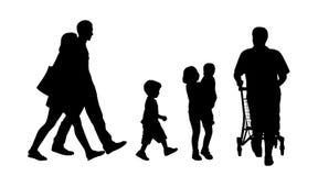 Le siluette all'aperto di camminata della gente hanno messo 3 illustrazione di stock