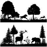 Le siluette degli animali selvatici nella foresta verde dell'abete vector l'illustrazione Fotografia Stock Libera da Diritti