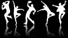 Le siluette dei ballerini nel concetto di dancing Immagine Stock Libera da Diritti