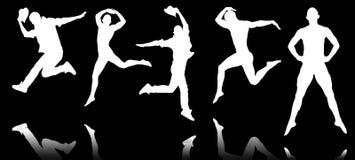 Le siluette dei ballerini nel concetto di dancing Fotografie Stock