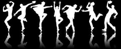 Le siluette dei ballerini nel concetto di dancing Fotografia Stock