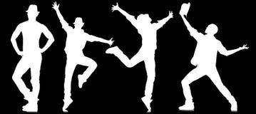 Le siluette dei ballerini nel concetto di dancing Immagini Stock Libere da Diritti