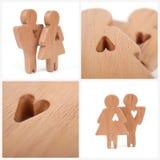 Le siluette dell'uomo, della donna e del cuore hanno tagliato dentro le forme su un fondo bianco Coppie felici nell'amore Il masc Fotografie Stock Libere da Diritti