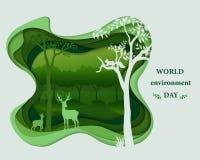 Le siluette della famiglia dei cervi in foresta abbelliscono, fondo approfondito di strato di scena di carta astratta di arte, il royalty illustrazione gratis