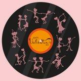 Le siluette di dancing della gente sono attinte un disco del grammofono, congratulazioni il giorno del ` s del biglietto di S. Va Immagini Stock Libere da Diritti