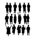Le siluette di graduazione, il segno ed il vettore felici di arte di simbolo progettano Immagine Stock