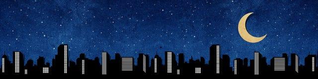 Le siluette di panorama della città hanno riciclato il mestiere di carta Fotografia Stock