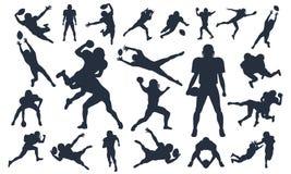 Le siluette hanno messo i giocatori di football americano, pacchetto di vettore, vario insieme di posa, Super Bowl, illustrazione illustrazione di stock