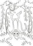 Le singe est à l'envers dans la forêt Photographie stock