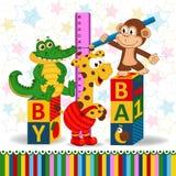 Le singe et le crocodile mesurent la croissance d'une girafe Image libre de droits