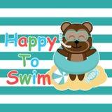 Le singe mignon apporte l'anneau et les verres de bain sur la bande dessinée de fond, la carte postale d'été, le papier peint, et Images libres de droits