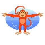 Le singe rouge veut embrasser le monde Image stock