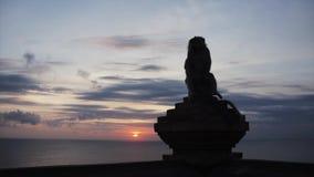 Le singe se repose sur le dessus de barrière et regarde autour sur le fond du coucher du soleil banque de vidéos