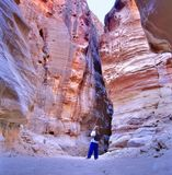 Le Siq, le fente-canyon étroit photo stock