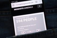 Le site Web de Gainesville de photos montré sur le smartphone caché dans des jeans empochent image stock