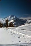 Le skieur de Telemark s'approche du sommet de la crête nordique Photo libre de droits