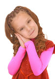 Le skolflickan i rosa färgklänning Royaltyfria Bilder