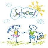Le skolflickan och skolpojken med en påse och en blyertspenna Arkivfoto