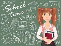 Le skolflickan som framme står av en svart tavla och innehavanteckningsböcker och läroböcker stock illustrationer