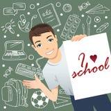 Le skolpojken som framme står av en svart tavla och ett innehav en affisch med uttrycks` älskar jag, skola`, stock illustrationer